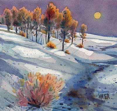 Painting - Nocturne In The Snow by Donald Maier