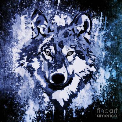 Wild Wolf Mixed Media - Nocturne by KaFra Art