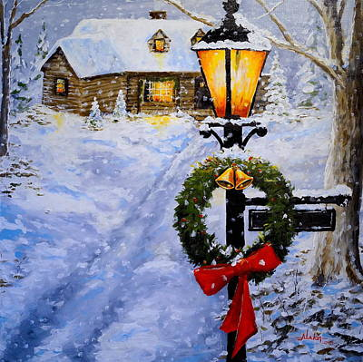 Snow Scape Painting - Noel by Alan Lakin