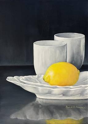 Painting - Noir Citron by Muriel Dolemieux