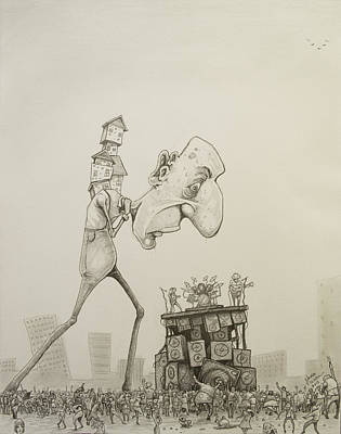 Contemporary Surrealism Drawing - Noise Complaint by Chase Fleischman