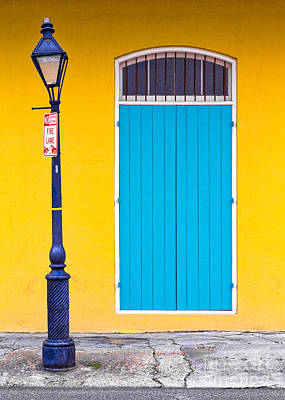 Photograph - Nola Door And Lamppost by Jerry Fornarotto