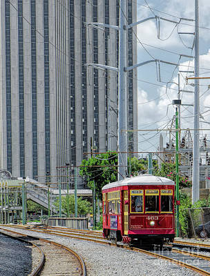 Photograph - Nola Red Streetcar Riverfront 3 by Kathleen K Parker