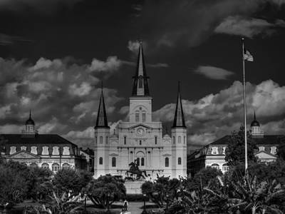 Photograph - Nola - St. Louis Cathedral 001 Bw by Lance Vaughn
