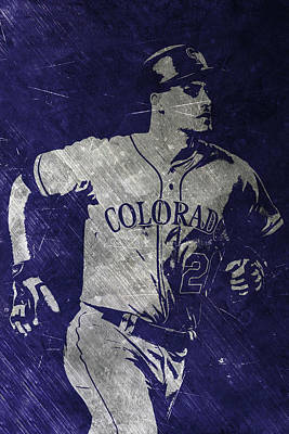 Nolan Arenado Colorado Rockies Art Art Print by Joe Hamilton