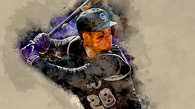 Mixed Media - Nolan Arenado Colorado Rockies by Marvin Blaine