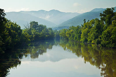 Photograph - Nolichucky River Landscape With Mountains by Melinda Fawver