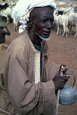 White Cattle Photograph - Nomad In Senegal by Carl Purcell