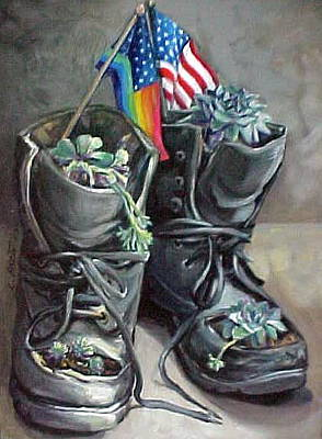 Painting - Non-combat Boots by Laura Aceto