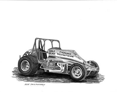 Painting - Non Wing Sprint Race Car by Jack Pumphrey