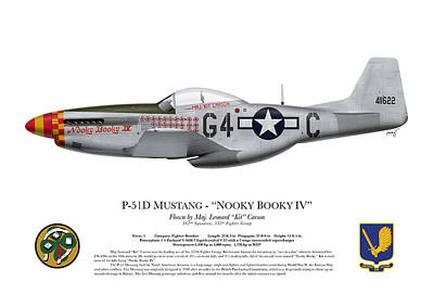 Us Army Fighters Digital Art - Nooky Booky I V - P-51 D Mustang by Ed Jackson