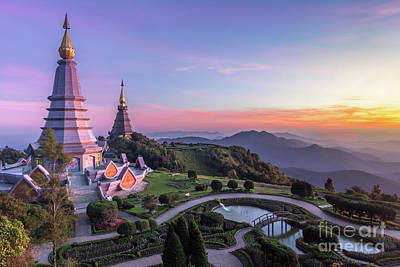 Noppamethanedol And Noppapol Phumsiri Pagoda And Picturesque Sunset Sky. Doi Inthanon, Thailand Art Print by Maxim Zabarovsky