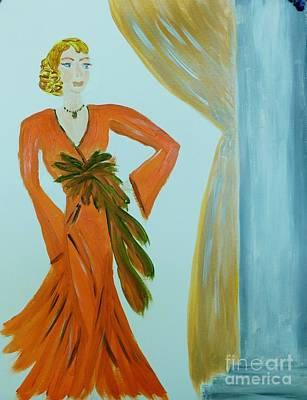 Painting - Nora-an Art Deco Lady by Marie Bulger