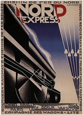 Royalty-Free and Rights-Managed Images - Nord Express - Steam Engine Locomotive - Vintage Art Deco Poster by Studio Grafiikka