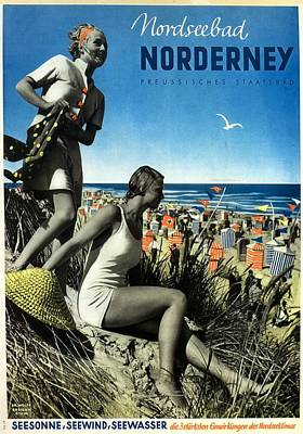 Norderney Vintage Collage Poster - Girls On A Beach Art Print