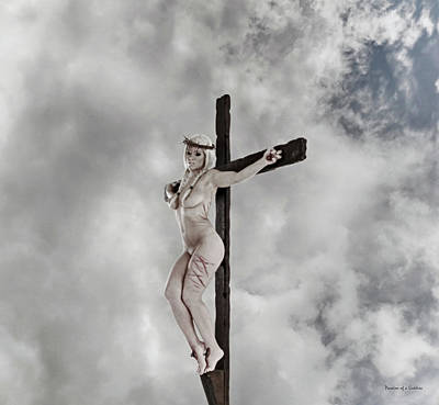 The Wooden Cross Photograph - Nordic Female Jesus by Ramon Martinez