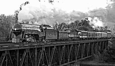 611 Photograph - Norfolk And Western J 611 - Yadkin River Bridge In Black And White by Matt Plyler