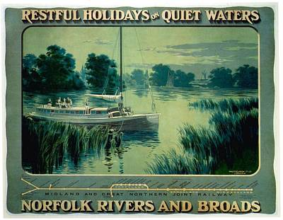 Royalty-Free and Rights-Managed Images - Norfolk Rivers and Broads - Vintage Illustrated Poster of a Boat in the waters by Studio Grafiikka