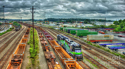 Photograph - Norfolk Southern Locomotive 654 Atlanta Inman Yard Intermodal Train Art by Reid Callaway