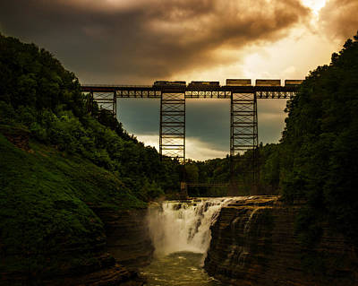 Photograph - Norfolk Southern Over Letchworth Upper Falls At Dusk by Chris Bordeleau