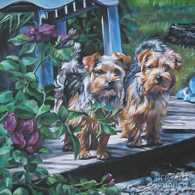 Norfolk Wall Art - Painting - Norfolk Terrier Pair by Lee Ann Shepard