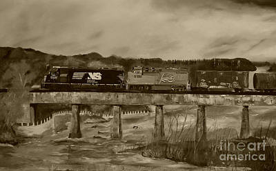 Painting - Norfolk Train - Chattahoochee River - Sepia by Jan Dappen