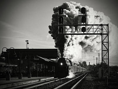 Photograph - Norfolk Western 611 Passes Salisbury Depot B W 1 by Joseph C Hinson Photography
