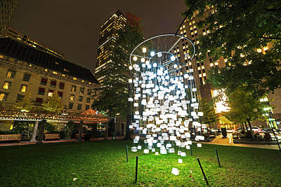 Photograph - Norman B Leventhal Park Light Cubes Boston Ma Franklin Street by Toby McGuire