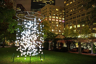 Photograph - Norman B Leventhal Park Light Cubes Boston Ma by Toby McGuire
