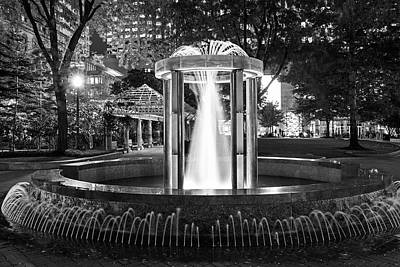 Photograph - Norman B Leventhal Park Water Fountain Boston Ma Black And White by Toby McGuire