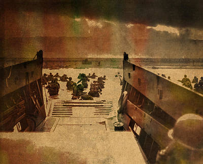 Normandy Beach On Dday World War Two Watercolor Tinted Historical Photograph On Worn Canvas Print by Design Turnpike