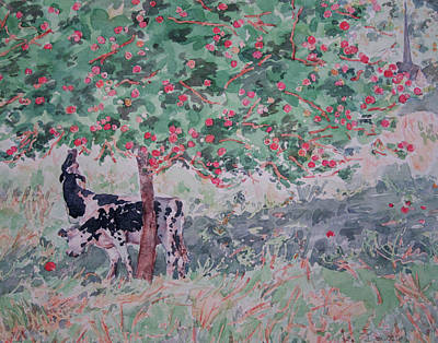 Painting - Normandy Cows In Apple Season by Lynn Gimby-Bougerol