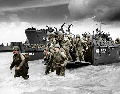 D Wade Photograph - Normandy Landings by American School