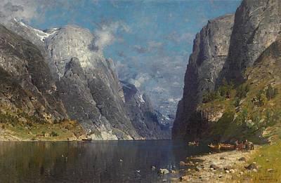 Ceramics Painting - Normann, Adelsteen Vagoya I Bodin 1848 - 1918 Kristiania Fjord Landscape. by Celestial Images