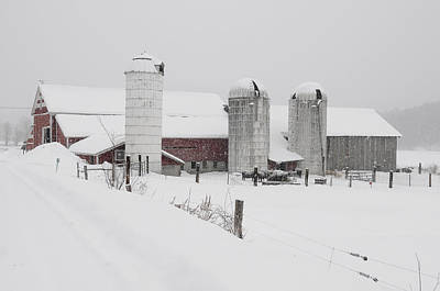 Barns In Snow Photograph - Norms Barn Athens Vermont by Mark Linton