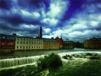 Sweden Digital Art - Norrkoping Waterfall by Ramon Martinez