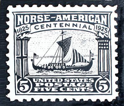 Norse-american Centennial Stamp Art Print by James Neill