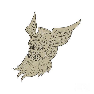Norse God Odin Head Drawing Art Print