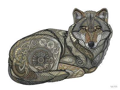 Mixed Media - Norse Wolf by ZH Field