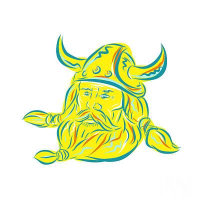 Norsemen Digital Art - Norseman Viking Beard Etching by Aloysius Patrimonio