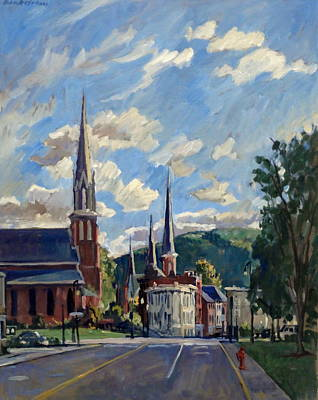Abstract Realist Landscape Painting - North Adams Massachusetts by Thor Wickstrom
