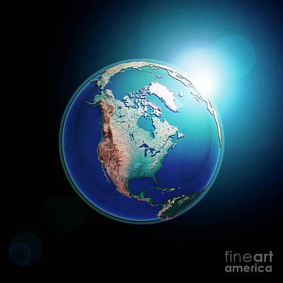 North America 3d Render Planet Earth Dark Space Art Print by Frank Ramspott