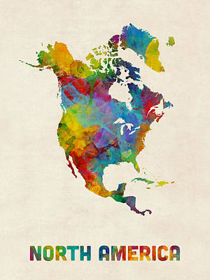 Digital Art - North America Continent Watercolor Map by Michael Tompsett
