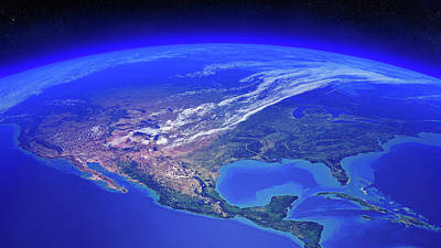 Royalty-Free and Rights-Managed Images - North America seen from space by Johan Swanepoel