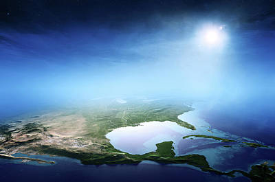 Mist Digital Art - North America Sunrise Aerial View by Johan Swanepoel