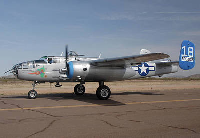 Casa Grande Photograph - North American B-25j Mitchell Maid In The Shade N125az Casa Grande Airport Arizona March 5 2011 by Brian Lockett