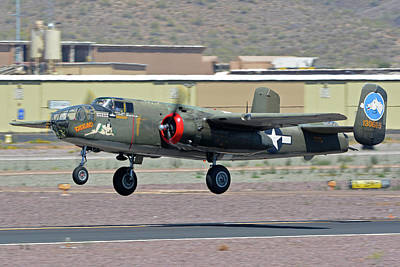 Print featuring the photograph North American B-25j Mitchell Nl3476g Tondelayo Deer Valley Arizona April 13 2016 by Brian Lockett