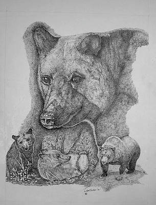 Brown Bear Drawing - North American Bear Collage by Lucien Van Oosten