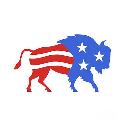 North American Bison Usa Flag Retro Art Print