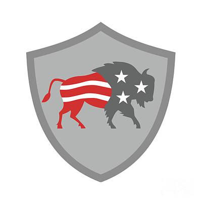 North American Bison Usa Flag Shield Retro Art Print
